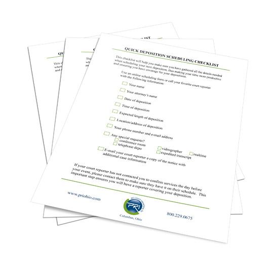 Quick Deposition Scheduling Checklist