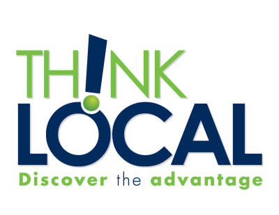 "Graphic that says ""Think Local, Discover the Advantage"""