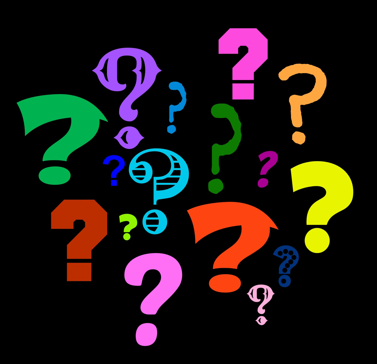 Graphic of different colored question marks on a black background